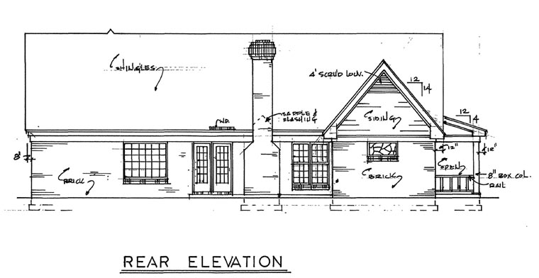 Country Southern House Plan 67004 Rear Elevation