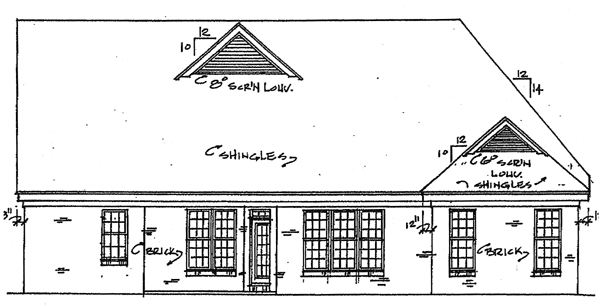 Country Southern House Plan 67028 Rear Elevation