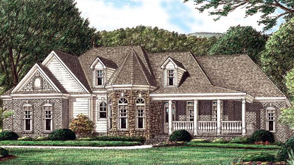 Country , Victorian House Plan 67031 with 4 Beds, 3 Baths, 2 Car Garage Elevation