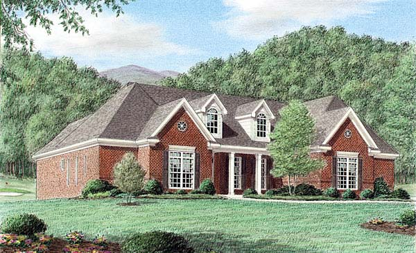 One-Story, Traditional House Plan 67040 with 3 Beds, 3 Baths, 2 Car Garage Elevation