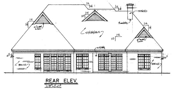 European Traditional House Plan 67041 Rear Elevation