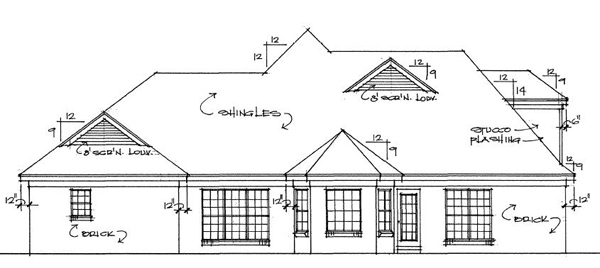 Traditional House Plan 67058 Rear Elevation