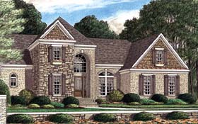 House Plan 67090   European Style Plan with 2585 Sq Ft, 4 Bedrooms, 3 Bathrooms, 2 Car Garage Elevation