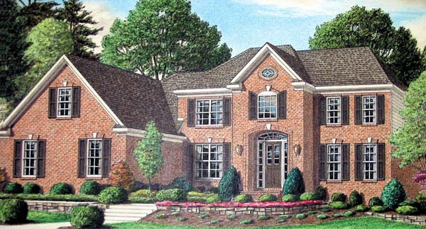 Colonial House Plan 67119 with 4 Beds, 4 Baths, 3 Car Garage Elevation
