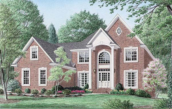 Colonial House Plan 67121 with 4 Beds, 3 Baths, 2 Car Garage Elevation