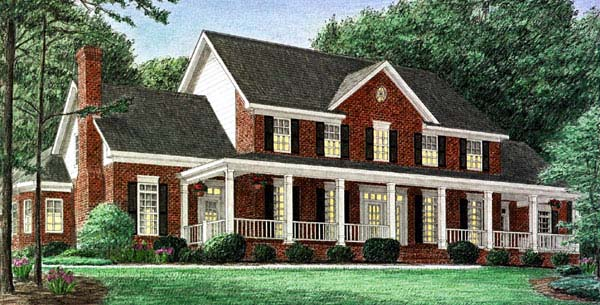 Country House Plan 67126 with 4 Beds , 3 Baths , 3 Car Garage Elevation