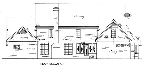 Country Rear Elevation of Plan 67126