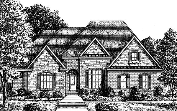 European House Plan 67142 Elevation