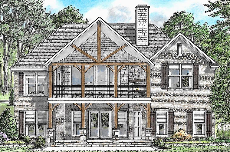 Bungalow Cabin Cottage Country Craftsman Traditional House Plan 67153 Rear Elevation
