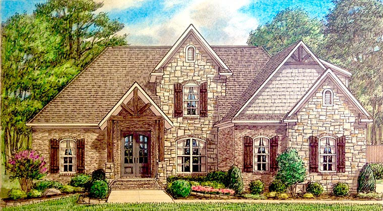 Bungalow , Cottage , Country , Craftsman , Traditional House Plan 67154 with 4 Beds, 3 Baths, 2 Car Garage Elevation