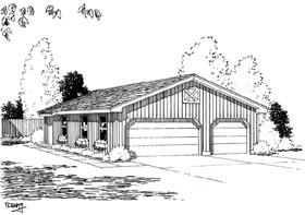 Narrow Lot , One-Story 6 Car Garage Plan 67201 Elevation