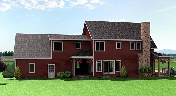 Colonial Farmhouse House Plan 67203 Rear Elevation