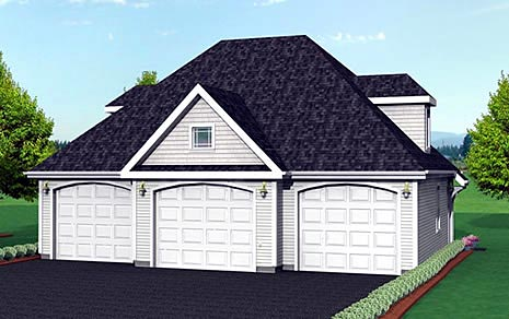 3 Car Garage Plan 67276 Elevation