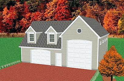 2 Car Garage Plan 67283, RV Storage Elevation