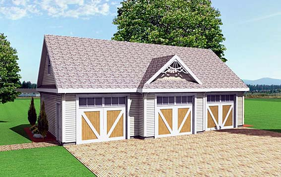 Garage Plan 67291 | Style Plan, 3 Car Garage Elevation
