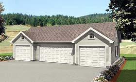 4 Car Garage Plan 67303 Elevation