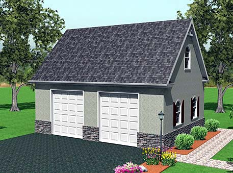2 Car Garage Plan 67304 Elevation