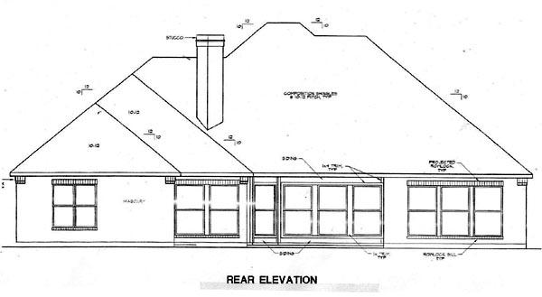 European House Plan 67405 Rear Elevation
