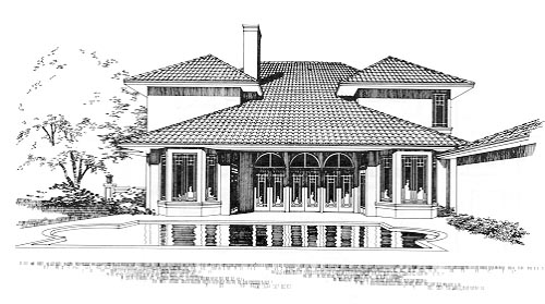 Mediterranean , Rear Elevation of Plan 67408