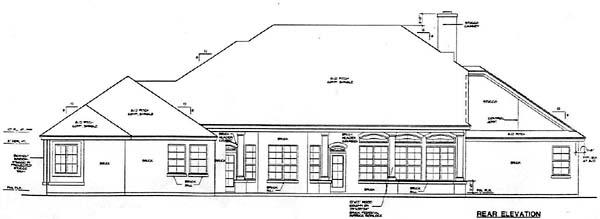 European House Plan 67410 Rear Elevation