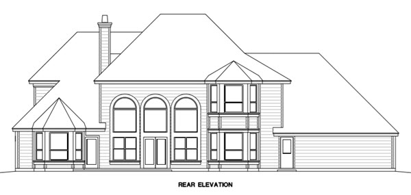 Traditional House Plan 67415 with 4 Beds , 4 Baths , 3 Car Garage Rear Elevation