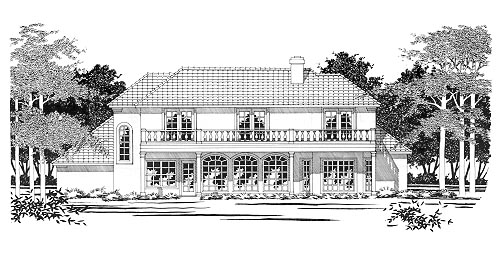 Traditional Rear Elevation of Plan 67418
