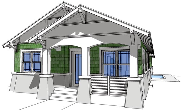 Bungalow Elevation of Plan 67501