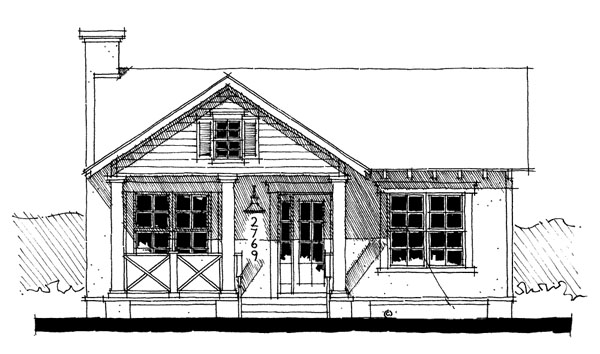 House Plan 67503 with 1 Beds , 1 Baths Elevation