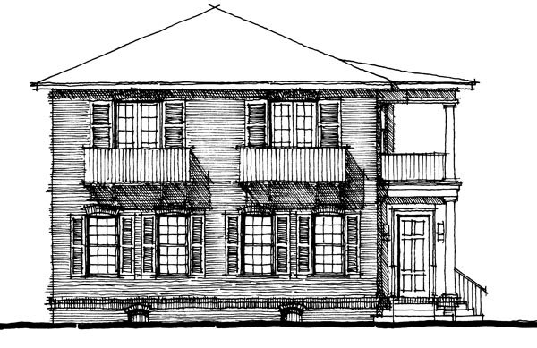 Colonial , Elevation of Plan 67519
