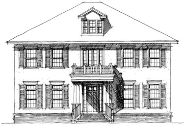 Colonial , Elevation of Plan 67521