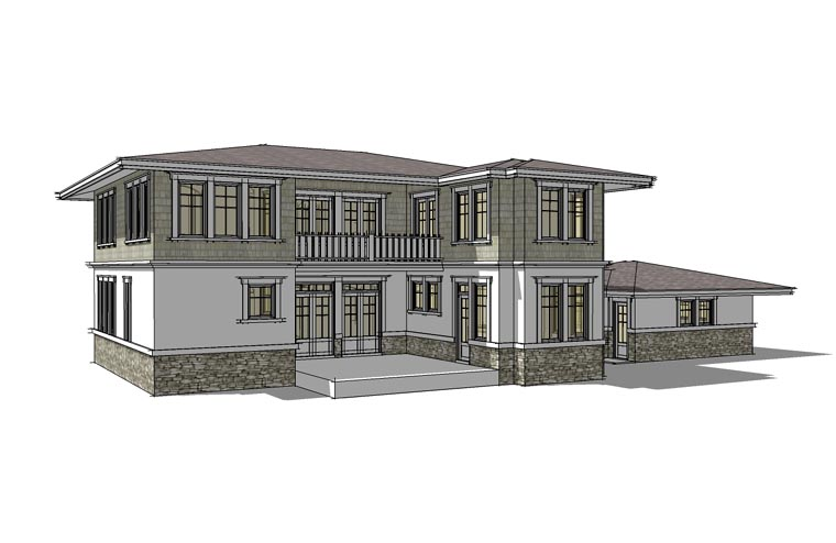 Prairie Style Southwest House Plan 67527 Rear Elevation