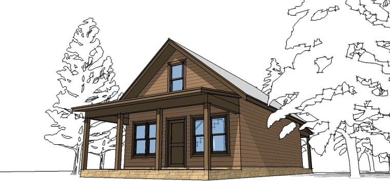 Cabin House Plan 67535 with 2 Beds, 1 Baths Elevation
