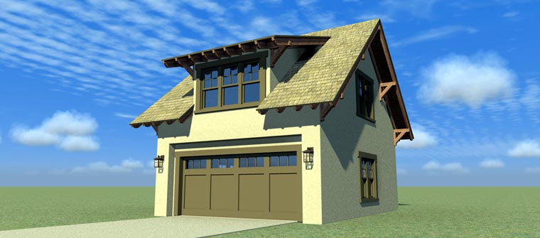 2 Car Garage Apartment Plan 67549 with 1 Beds, 1 Baths Elevation