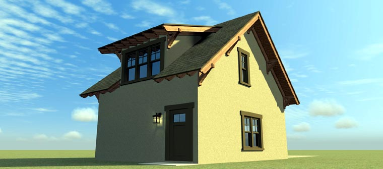 2 Car Garage Apartment Plan 67549 with 1 Beds, 1 Baths Rear Elevation