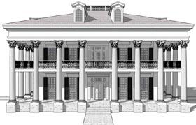 Greek Revival Plantation House Plan 67551 Elevation