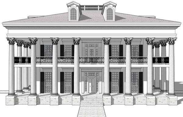Greek Revival Plantation House Plan 67551 Elevation