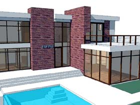 Modern House Plan 67558 with 3 Beds, 3 Baths, 2 Car Garage Elevation