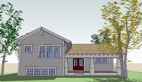 Bungalow Craftsman House Plan 67562 Rear Elevation