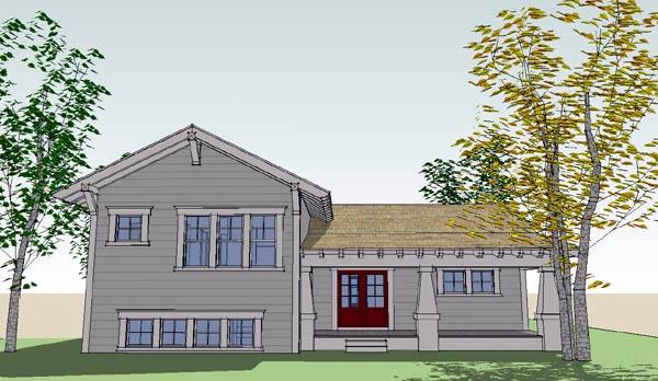 Bungalow Craftsman House Plan 67562 Rear Elevation