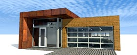 House Plan 67571 | Contemporary Modern Style Plan with 2573 Sq Ft, 4 Bedrooms, 3 Bathrooms, 2 Car Garage Elevation