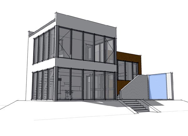 Coastal , Contemporary , Modern , Rear Elevation of Plan 67573