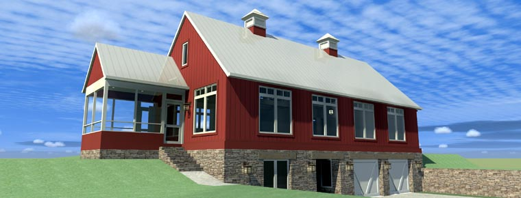 House Plan 67592 | Contemporary Style Plan with 2216 Sq Ft, 3 Bedrooms, 2 Bathrooms, 2 Car Garage Elevation