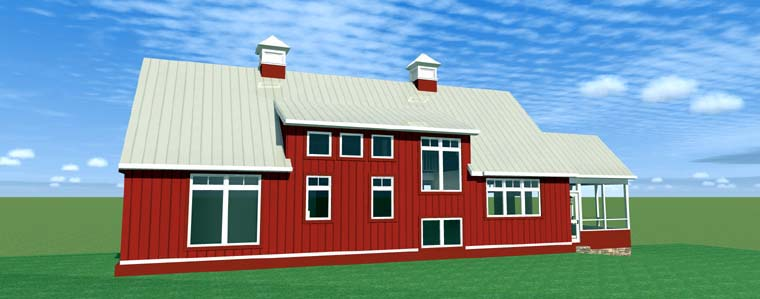 House Plan 67592 | Contemporary Style Plan with 2216 Sq Ft, 3 Bedrooms, 2 Bathrooms, 2 Car Garage Rear Elevation