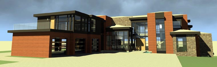 Contemporary, Modern House Plan 67596 with 5 Beds, 6 Baths, 3 Car Garage Elevation