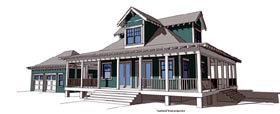 House Plan 67597 | Coastal Style House Plan with 1527 Sq Ft, 2 Bed, 2 Bath, 2 Car Garage Elevation