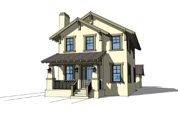 Craftsman House Plan 67598 with 3 Beds , 3 Baths , 2 Car Garage Elevation