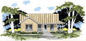 House Plan 67600 | Ranch Style Plan with 1005 Sq Ft, 3 Bedrooms, 1 Bathrooms, 2 Car Garage Elevation