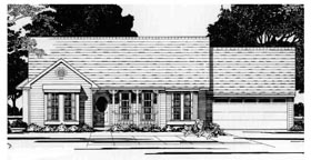 Ranch House Plan 67601 with 2 Beds, 2 Baths, 2 Car Garage Elevation