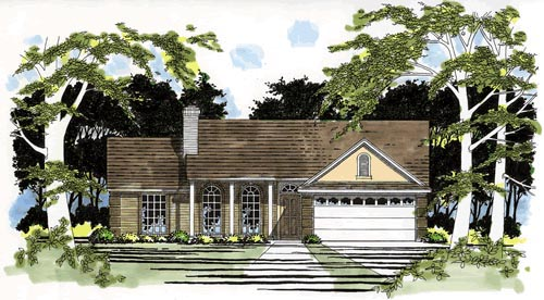 One-Story, Traditional House Plan 67603 with 3 Beds, 2 Baths, 2 Car Garage Elevation