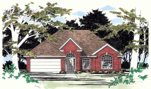 One-Story, Ranch House Plan 67607 with 3 Beds, 2 Baths, 2 Car Garage Elevation